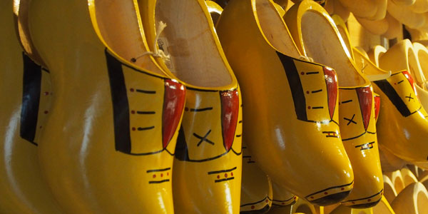 wearing wooden shoes