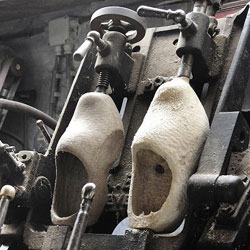 traditional making of wooden clogs