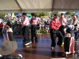 folk dancing with wooden shoes