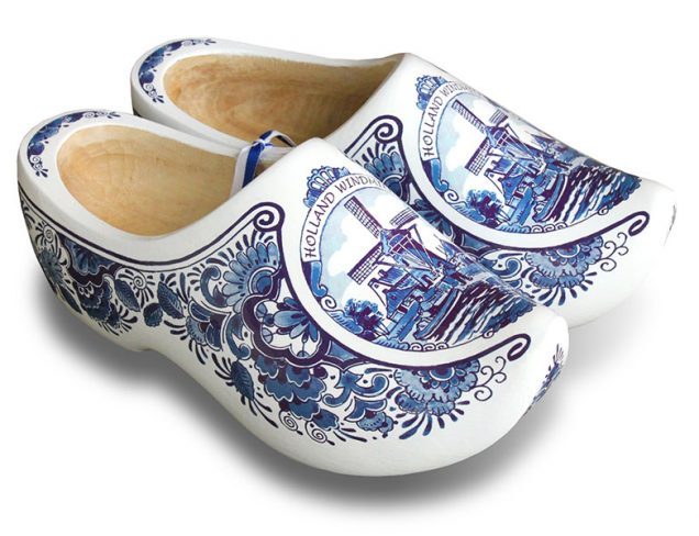 White Blue Mill Dutch Clogs